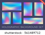 set of holographic trendy... | Shutterstock .eps vector #561489712