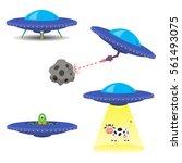 set of vector flying saucers | Shutterstock .eps vector #561493075