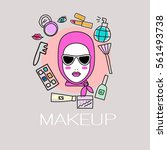flyer sale on cosmetics. icon... | Shutterstock .eps vector #561493738