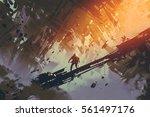 man standing in abstract... | Shutterstock . vector #561497176