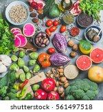 clean eating concept over grey... | Shutterstock . vector #561497518