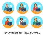 call center agents team. flat... | Shutterstock .eps vector #561509962