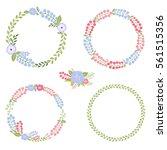 set of flower spring round... | Shutterstock .eps vector #561515356