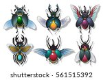 vector bugs set gems beetles... | Shutterstock .eps vector #561515392