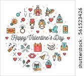 valentine icons line thin style ... | Shutterstock .eps vector #561523426