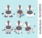 Stock vector vector set cute zebra in cartoon style 561528532