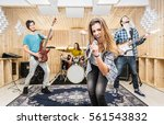 young band music recording in a ... | Shutterstock . vector #561543832