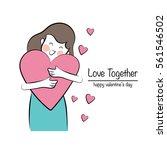 young woman hug heart ... | Shutterstock .eps vector #561546502