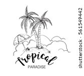 tropical paradise hand drawn | Shutterstock .eps vector #561549442