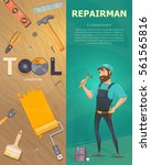 colorful technician vertical... | Shutterstock .eps vector #561565816