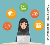 arab woman working with a... | Shutterstock .eps vector #561565912