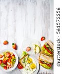 food on the table top view | Shutterstock . vector #561572356