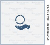 circular arrows on hand icon ... | Shutterstock .eps vector #561573766