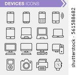 set of thin line devices icons. ...
