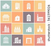 vector set of various buildings ... | Shutterstock .eps vector #561599026