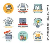 vector set of colored movies... | Shutterstock .eps vector #561607945