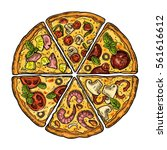 set slice pizza pepperoni ... | Shutterstock .eps vector #561616612