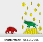 bull and bear paper art with... | Shutterstock .eps vector #561617956