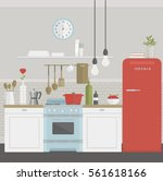 vector illustration of kitchen... | Shutterstock .eps vector #561618166