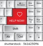 computer keyboard with help now ... | Shutterstock .eps vector #561625096