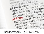 Small photo of Closeup of English dictionary page with word affray