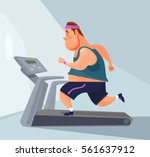man character runs on treadmill.... | Shutterstock .eps vector #561637912