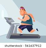 man character runs on treadmill.... | Shutterstock .eps vector #561637912