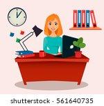 business woman  office worker.... | Shutterstock .eps vector #561640735