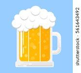 mug of beer isolated on blue... | Shutterstock .eps vector #561643492