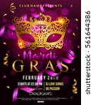 mardi gras party flyer design... | Shutterstock .eps vector #561644386