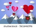hot air balloons in a heart... | Shutterstock .eps vector #561646396
