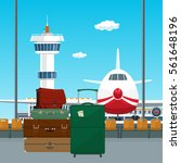 view on airplane and control...   Shutterstock .eps vector #561648196