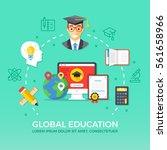 global education. flat design... | Shutterstock .eps vector #561658966