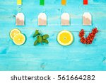 flavored teabags fresh fruit... | Shutterstock . vector #561664282