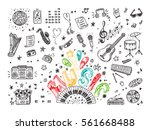 vector music icons set. hand... | Shutterstock .eps vector #561668488