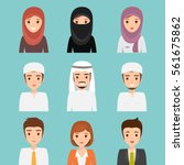 set of woman and man muslim... | Shutterstock .eps vector #561675862