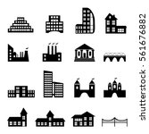buildings flat black icons set. ... | Shutterstock .eps vector #561676882