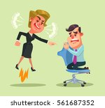 boss woman character yells at... | Shutterstock .eps vector #561687352