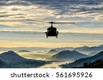 Helicopter Flying On Hill And...