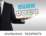 regulations concept. man... | Shutterstock . vector #561696676