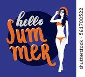 hello summer lettering. vector... | Shutterstock .eps vector #561700522