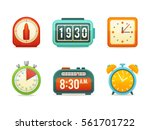 flat clock icons set with... | Shutterstock .eps vector #561701722
