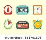 flat clock icons set with... | Shutterstock .eps vector #561701806