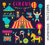 circus collection with carnival ... | Shutterstock .eps vector #561721096