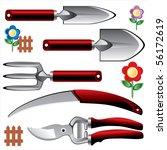 Set Of Garden Tools. Vector...