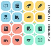 set of 16 simple books icons.... | Shutterstock .eps vector #561728215