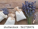 dry lavender flowers and... | Shutterstock . vector #561728476