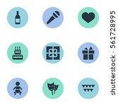 set of 9 simple celebration... | Shutterstock .eps vector #561728995