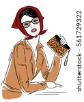 illustration. fashion lady in... | Shutterstock . vector #561729322