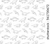 funny dinosaurs line pattern | Shutterstock .eps vector #561730672